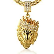 남성용 팬던트 목걸이 라인석 Crown Shape Animal Shape 사자 골드 18K 금 모조 다이아몬드 합금 Rock 개인 보석류 용 파티 일상 캐쥬얼 1PC