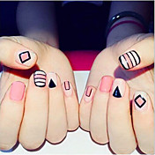 24 Pcs Finished Product False Nails Nail Strips Pink Nail Nail Plate