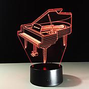 Accesorios de la lámpara de la luz de la noche del usb del piano 3d de la novedad 7 que cambian el lampara casero del beddside del hogar
