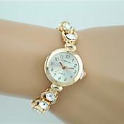 Mujer Reloj de Moda Reloj Pulsera Cuarzo La imitación de diamante Brillante Aleación Banda Encanto Casual Elegantes Dorado Dorado