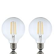 6W E26/E27 LED필라멘트 전구 G95 4 COB 600 lm 따뜻한 화이트 밝기 조절 AC 220-240 V 2개