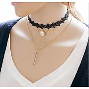 Mujer Niñas´ Gargantillas Collares con colgantes Collares en capas Joyas Legierung Forma de Tubo Forma de Cruz Cruz Dorado JoyasFiesta