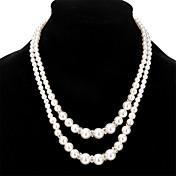 Mujer Collares en capas Perla artificial Cristal Perla Artificial Brillante Legierung Joyasperla doble Perla Artificial Moda