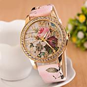 아가씨들 드레스 시계 패션 시계 손목 시계 모조 다이아몬드 시계 모조 다이아몬드 석영 PU 밴드 꽃패턴 핑크