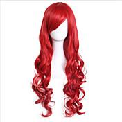 Mujer Pelucas sintéticas Sin Tapa Largo Rizado Rojo Con flequillo Peluca de cosplay Las pelucas del traje