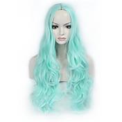 자연 가발 합성의 캡 없음 가발 긴 블루 머리