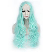 Mujer Pelucas sintéticas Sin Tapa Largo Ondulado Azul Peluca natural Las pelucas del traje