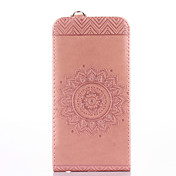 사과 아이폰 7 플러스 7 케이스 카드 홀더 스탠드 플립 양각 된 전신 케이스 솔리드 컬러 꽃 하드 우레탄 가죽 4g / 4s 5g / 5se 6 / 6s 6 / 6s plus