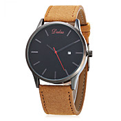 Hombre Reloj de Moda Chino Cuarzo Calendario Esfera Grande Piel Banda Cosecha Casual Minimalista Negro Marrón