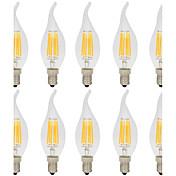 6W LED필라멘트 전구 CA35 6 COB 560 lm 따뜻한 화이트 차가운 화이트 장식 AC 220-240 V 10개 E14