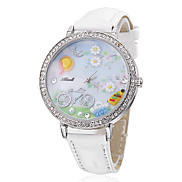 Women's Bike Style PU Analog Quartz Wrist Watch (White) Cool Watches Unique Watches