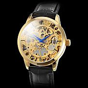 Men's Gold Case PU Analog Semi-automatic Mechanical Wrist Watch (Black Band) Cool Watch Unique Watch