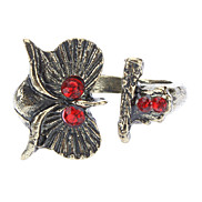 Punk Style Red Diamond Owl Opening Green Patina Ring