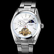 Unisex Silver Case Steel Mechanical Analog Wrist Watch (Silver Band) Cool Watch Unique Watch