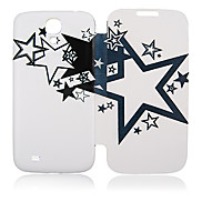 Black White Five-Pointed Star Full Body Leather Case for Samsung Galaxy S4 I9500