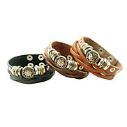 Punk Style Twist Weave Leather Bracelet(Assorted Color)