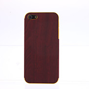 Wood Grain PU Leather Gold Frame Case for iPhone 5