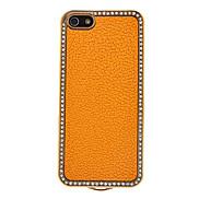Orange Luxury Bling Crystals Rhinestones PC Leather Case for iPhone5/5S
