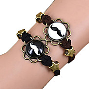Galaxy Retro Handmade DIY Lover Time Multicolor Alloy Glass Leather Warp Bracelet(1 Pc)(Black,Brown)(As Picture 2)