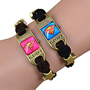 Galaxy Retro Handmade DIY Lover Time Multicolor Alloy Glass Leather Warp Bracelet(1 Pc)(Black,Brown)(As Picture 3)