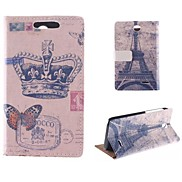 Crown Butterfly Pattern with The Eiffel Tower PU Full Body Case with Card Slot for HTC Desire 310