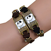 Galaxy Retro Handmade DIY Lover Time Multicolor Alloy Glass Leather Warp Bracelet(1 Pc)(Black,Brown)(As Picture 4)