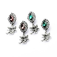Cute Angel Drop Antique Silver Plated Alloy Earrings (Wine,Green) (1 Pair)