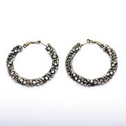 Fashion (Round) Bronze Alloy Hoop Earrings(Bronze)(1Pair)