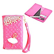 Elonbo Diamond Grain Dancing Girl Style Leather Wallet Full Body Case for Iphone4/5/5C