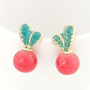 Fashion Sweet Temperament OL Leafy Candy Colored Earrings