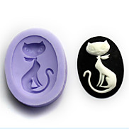 Bakeware Silicone Cat Baking Molds for Fondant Candy Chocolate Cake (Random Colors)