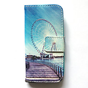 Case For Samsung Galaxy S4 Mini Case Cover Card Holder Wallet with Stand Flip Pattern Full Body Case City View Hard PU Leather