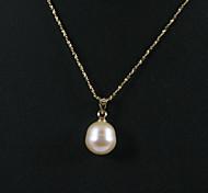 Or jaune 14k rose 10,5-11mm aa perle d'eau douce collier avec pendentif (xzz043)