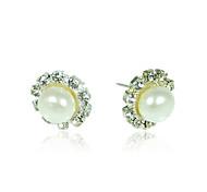 10,5-11mm aa arete de perla blanca de agua dulce (lsp053)