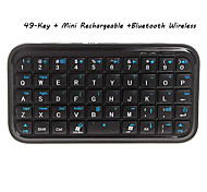49-Key Mini Rechargeable Bluetooth Wireless QWERTY Keyboard for IPAD/IPHONE4G/3G/3GS