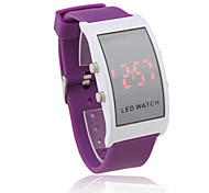 Unisex Red LED Digital Rectangle Case Purple Silicone Band Wrist Watch