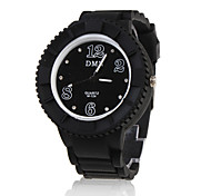 Silicone Band Elegant Crystal Round Wrist Watch - Black Cool Watches Unique Watches