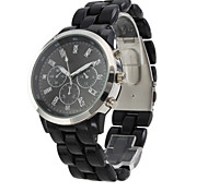 Fashionable Quartz Wrist Watch with Black Plastic Band