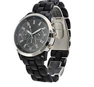 relógio de pulso de quartzo moda com a banda de plástico preto