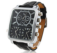 Men's Watch Dress Watch Three Time Zones Rectangle Dial