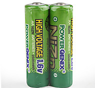 2500mAh 1.6V Ni-ZN AA Battery (Pair Package)