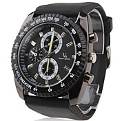 Men's Racing Style Big Dial Black Silicone Band Quartz Wrist Watch