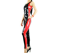 ärmellosen roten und schwarzen Mischfarbe metallisch glänzenden Frauen pvc catsuit
