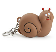 Key Chain Snail Cartoon LED Lighting / Sound Brown ABS