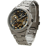 Men's Auto-Mechanical Black Dial Steel Band Wrist Watch