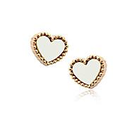 Korean Fashion Resin Peach Heart Alloy Stud Earrings