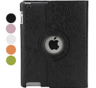 360 Degree Rotable Flower PU Leather Case with Stand for iPad 2/3/4 (Assorted Colors)