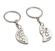 Halbkreis geformten niedlichen Jungen und Mädchen Metall Paar Schlüsselanhänger (1 Paar)