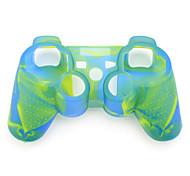 protectora de color dual de silicona caso para PS3 controlador (azul y verde)