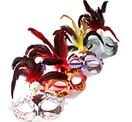 Plastic Eyes Mask with Feather (Random Colors)